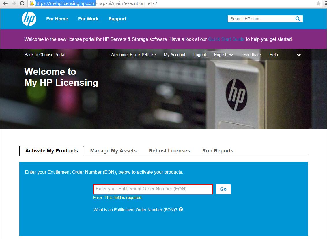 HP Licensing Portal 2